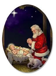 santa and baby jesus kneeling santa in manger humble adoration infant