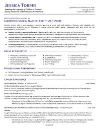 Sample Resume For Teaching Profession by Substitute Teacher Resume Example Resume Examples Substitute