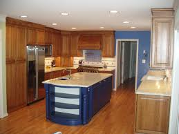 varnished hickory wood kitchhen island with black polished iron natural kitchen