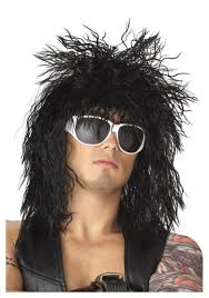 black hair band dude wig mens 70s 80s halloween costume wigs