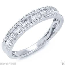 baguette wedding band womens 0 37ct 14k white gold baguette diamond wedding band ring