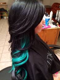 Color Hair Extension by Color And Extensions Black And Teal Hair Extensions