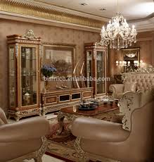 Classic Chesterfield Sofa by Noble Palace Design Solid Wood Carved Sofa Set Luxury Gold Painted