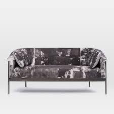 metal frame sofa bed metal frame sofa 67 rauschenberg print west elm pertaining to ideas