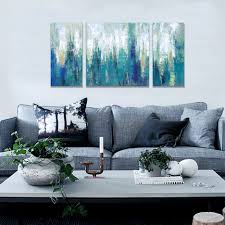 canvas print 3 panels blue abstract modern prints on canvas wall