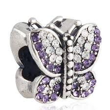 pandora butterfly bracelet charm images Fashion jewelry 925 sterling silver beads zirconia purple pave jpg