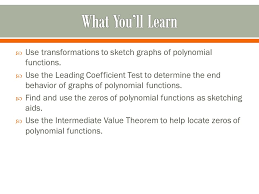 polynomial functions of higher degree use transformations to