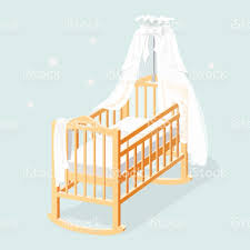 Free Baby Canopy by Baby Cot With White Canopy Mattress And Linens Stock Vector Art