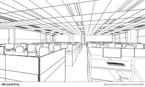 outline sketch of a interior office area illustration 43413484