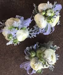 Corsage Wristlets Wrist Corsage Of White Ranunculus And Dusty Miller Corsages
