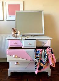 rose gold vanity table grey wooden dressing table mirror with pink white rose gold