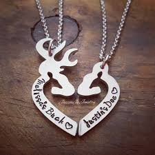 buck and doe couples necklace personalized buck his doe necklace set personalized gift