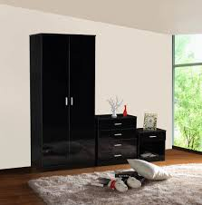 Bedroom Furniture Sets Black Gladini Black High Gloss 3 Piece Bedroom Furniture Set Wardrobe