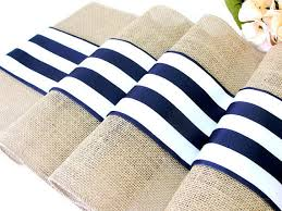 blue and white table runner french stripes wedding table runner wedding table decor