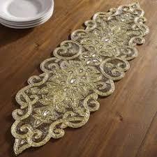 Beaded Table Linens - hand beaded table runner paisley dining room pinterest