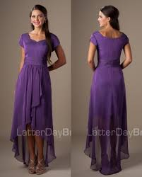 simple purple high low chiffon church short modest bridesmaid