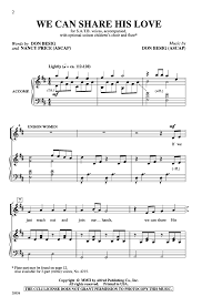 Nancy Price by We Can Share His Love Satb By Nancy Price J W Pepper Sheet Music