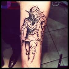 grey ink abstract anime tattoo on left arm tattooshunt com