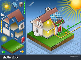 solar panel energy diagram 3d isometric stock vector 97723397