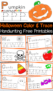 halloween handwriting coloring free printables