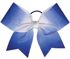 white and blue bows chassé ombre performance hair bow omni cheer