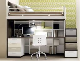 contemporary bedroom with built in bookshelf laminate