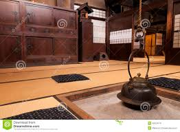 traditional japanese home interior with fireplace takayama japan