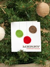 yarn embellished holiday ornament card hgtv