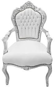 fauteuil simili cuir blanc fauteuil de style baroque rococo tissu simili cuir blanc bois argent