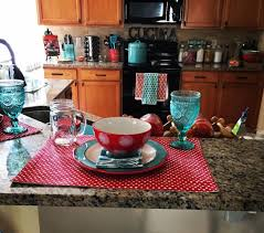 pioneer woman inspired kitchen turquoise and red polka dots the
