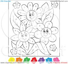clipart of color by number flowers royalty free vector