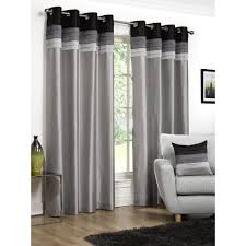 Lined Curtains Seattle Eyelet Lined Curtains Black 122 X 183cm At Wilko Com