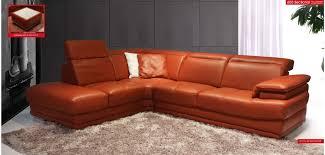 Orange Leather Sectional Sofa 605 Esf Modern Orange Italian Leather Sectional Sofa