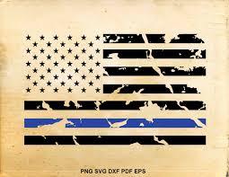 Flag Law Blue Line Flag Svg Distressed American Flag Svg Police Flag