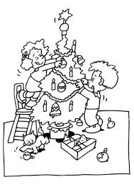 sibling decorating christmas tree coloring page christmas