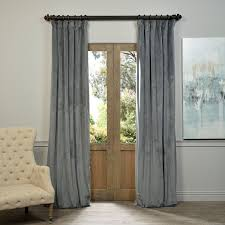 Exclusive Curtain Fabrics Designs Exclusive Fabrics Grey Velvet Blackout Curtain Panel
