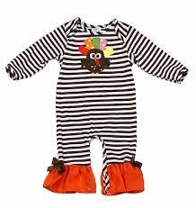 n infant brown stripes orange ruffle romper ribbon