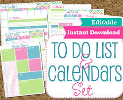 printable calendar home organization editable and instant download to do list and calendar set