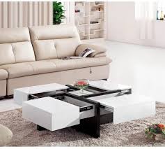 white and black coffee table with hidden storage sliding drawer