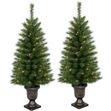 e14 2 pack pre lit porch trees 4 ft at home at home