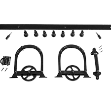Barn Door Hardware Home Depot by Heavy Duty Horseshoe Black Rolling Barn Door Hardware Kit