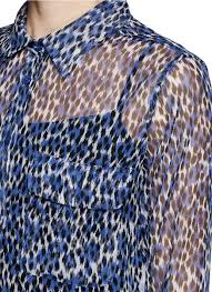 Blue Leopard Print by Equipment Leopard Print Silk Shirt In Green Lyst
