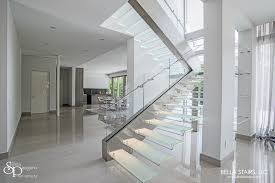 Glass Staircase Design Floating Glass Staircase With Led Lighting Bella Stairs Llc