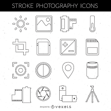 stroke photography icon collection vector download