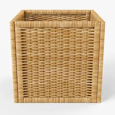 Rattan Baskets by Wicker Rattan Basket 07 Natural 3d Cgtrader