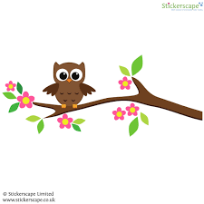 owl on a tree branch wall sticker stickerscape uk owl on a tree branch wall sticker