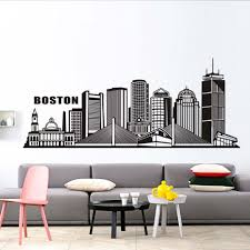 online get cheap wall mural silhouette buildings aliexpress com boston city building wall sticker for living room art silhouette home decor pvc removable waterproof adhesive wall decal mural