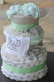 cake centerpiece mint green gray elephant baby shower cake centerpiece set