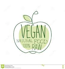 fresh vegan food promotional sign with apple silhouette for