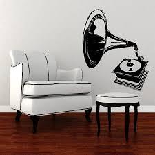 Retro Old Gramophone Vinyl Wall Sticker Gift Art Graphic Design - Wall graphic designs